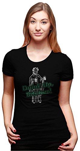 女性用飲み干せビッチ Tシャツ面白いセントパトリックデーTシャツ - L