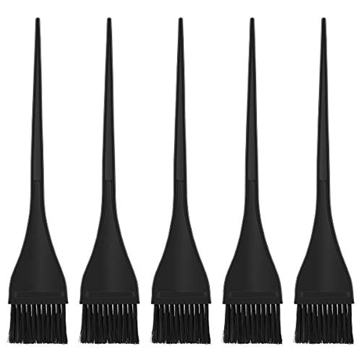 Lurrose ヘアダイブラシ ヘアカラー 毛染め ブラシ ヘアダイコーム カラーリングブラシ 家庭用 美容師プロ用 5本セット(ブラック)