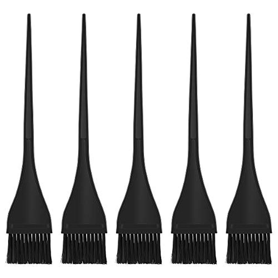 スタジオ懐疑的なめらかなLurrose ヘアダイブラシ ヘアカラー 毛染め ブラシ ヘアダイコーム カラーリングブラシ 家庭用 美容師プロ用 5本セット(ブラック)