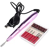 Blesiya 6pcs Pro Portable USB Electric Nail Art Pen Machine Manicure Drill File Kit for Personal,Nails Salon,Nail Practice,Nails School,Nail Fanatics/Techs - Rose Pink