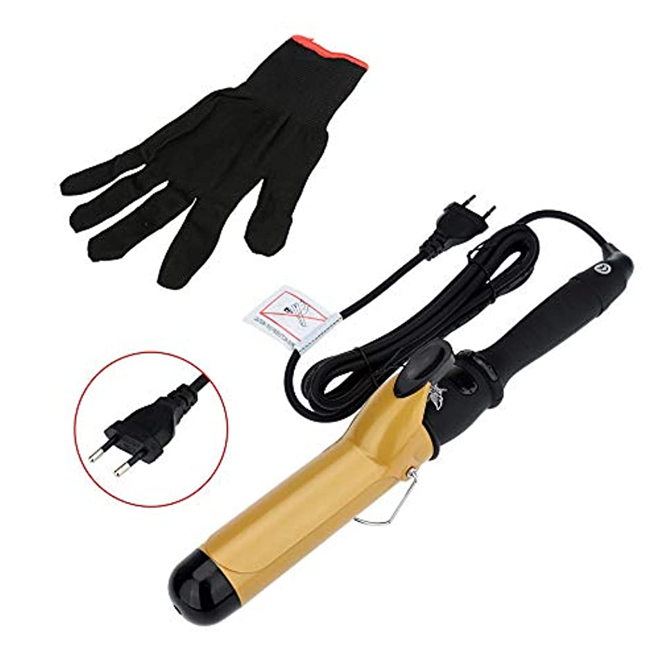乱雑な硫黄基礎理論38mmセラミックバレルカールアイロンカーリングアイロンカーラーローラーと手袋ヘアスタイリングツール mei (Color : EU)
