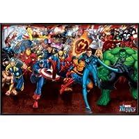 The Marvel Heroes – Framed Comicポスター/印刷( Attack :キャプテンAmierca、アイアンマン、ウルヴァリン、スパイダーマン、シルバーサーファー。。。) (サイズ: 36