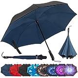 Repel Reverse Folding Inverted Umbrella with 2 Layered Teflon Canopy - Golf Umbrella with Reinforced Fiberglass Ribs