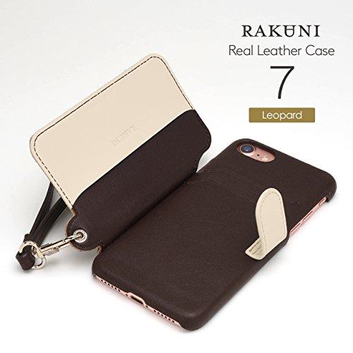 <iPhone 7用> RAKUNI (ラクニ) 本革 背面ポケット型ケース(レパード)前面むきだし/ストラップ付き/スタンド機能/財布がわりに(ヒョウ柄ハラコ仕立て&白)