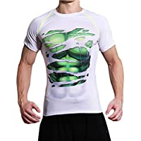 L&H Men's Running Compression Shirt Smooth Short Sleeve Training Shirt