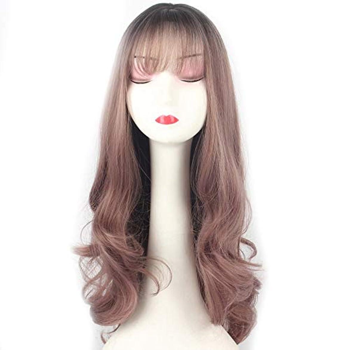 ゴールド海外列車WASAIO グラデーション薄いつるパープルかつら女性カールウィッグコスプレハロウィンヘアアクセサリースタイルの交換のための前髪 (色 : Gradient thin vine purple)