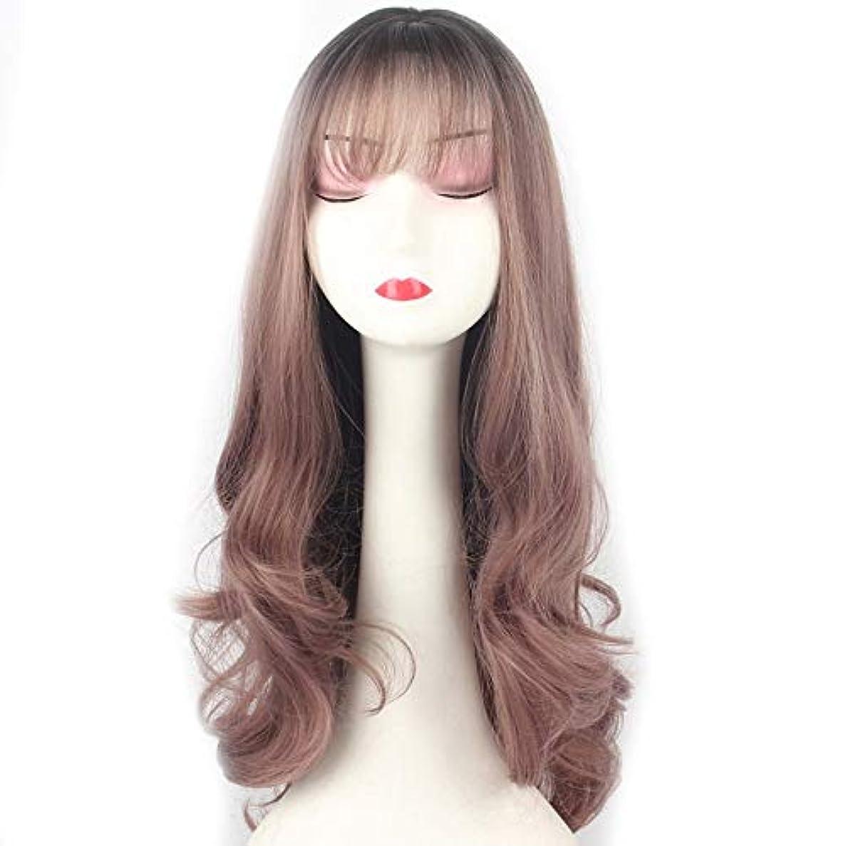 ブリーク認識レンダリングWASAIO グラデーション薄いつるパープルかつら女性カールウィッグコスプレハロウィンヘアアクセサリースタイルの交換のための前髪 (色 : Gradient thin vine purple)