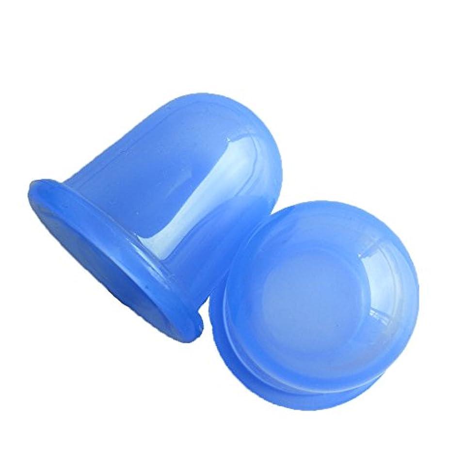 一人で浅い死ぬシリコン製カッピング 吸い玉 吸玉 全身 腰痛 肩こり マッサージ ツボ押し 真空セラピー 簡単キャリー 疲労軽減 吸圧器 2 Pack (ブルー)