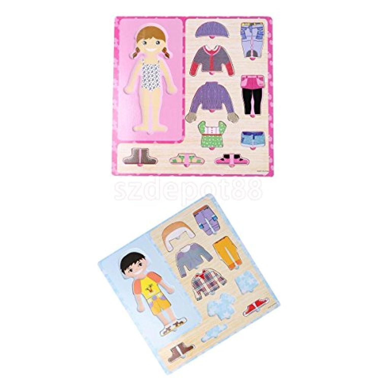 2 Sets pre-school dress-up Boy Girl Change Clothes木製Peg Jigsawパズル