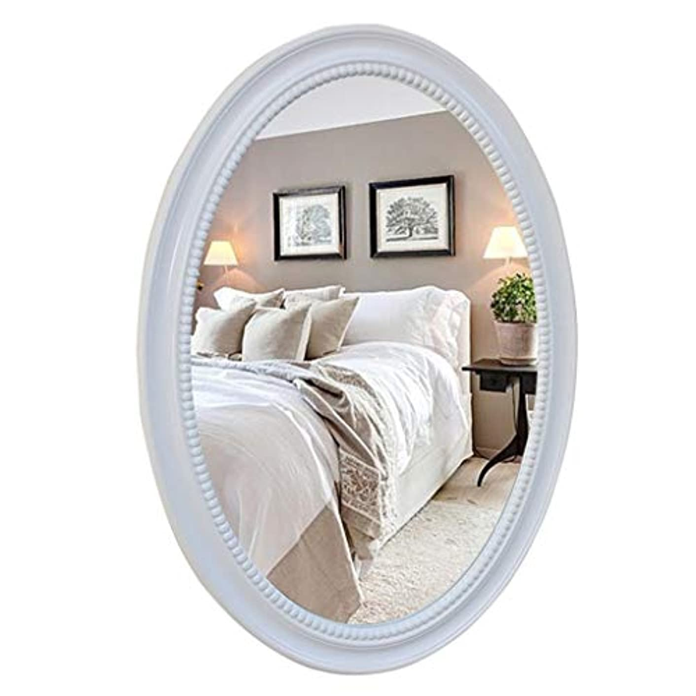 味方増強する特別にオーバルウォールミラーバスルーム化粧ドレッシングミラー装飾的な剃毛アイアンミラー大型虚栄心アパートリビングルーム寝室の出入り口木製フレーム