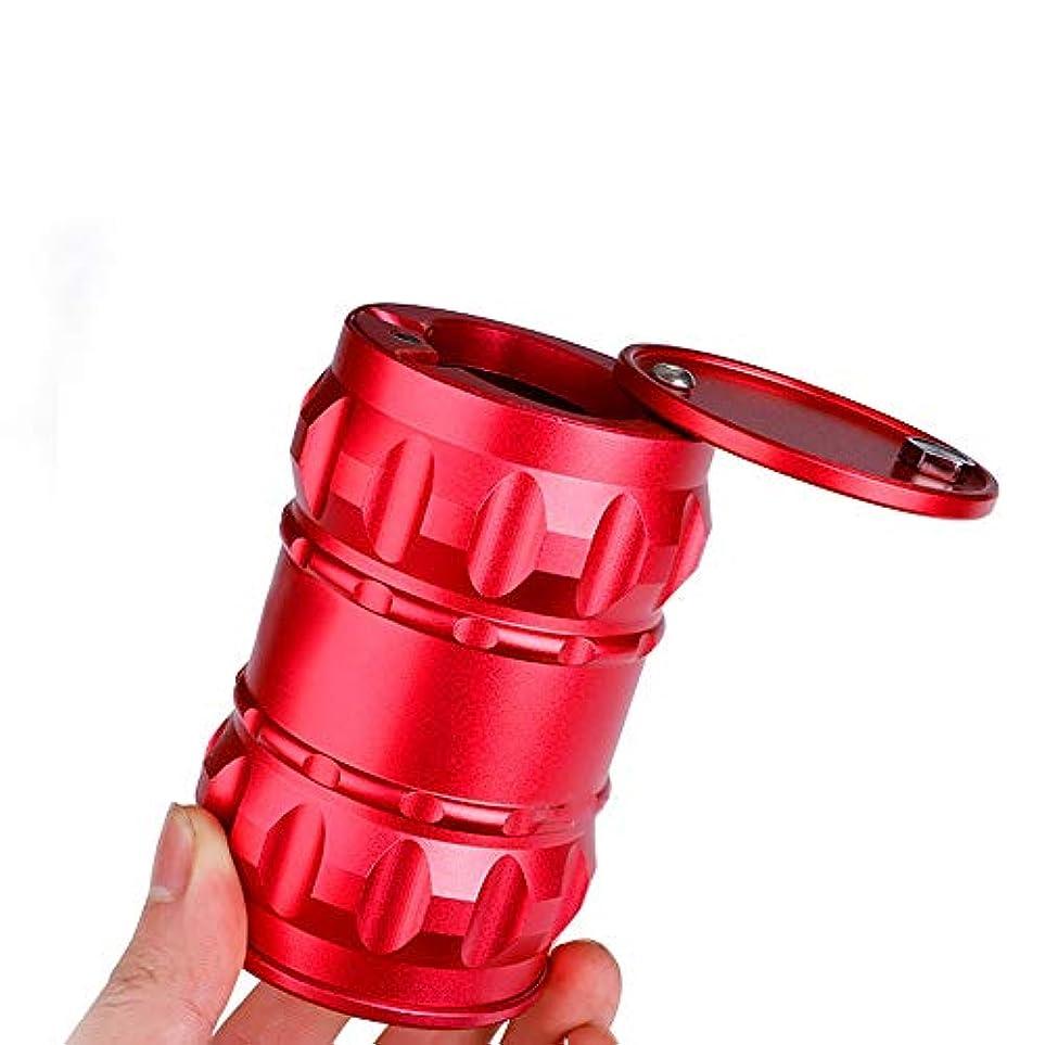 散歩に行く技術幸運なふた付き吸煙コレクター赤で回転灰皿