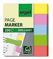 Sigel hn625ページマーカーBrillant、Stickyフラグ、インデックスタブフラグ、細い半透明(イエロー、ピンク、ブルー、グリーン、オレンジ、0.47X 1.97インチ、200ストリップon aボード