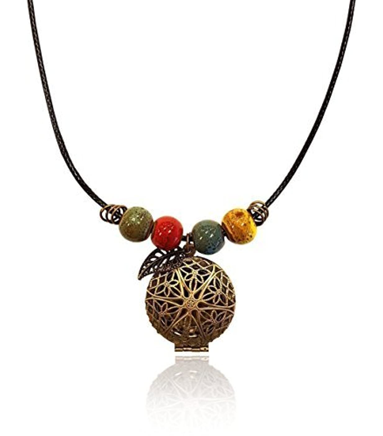 パケット満了同一のBrass-tone BOHO Colorful Bohemian Beaded Gypsy Essential Oil Diffuser Jewelry Aromatherapy Locket Pendant includes...