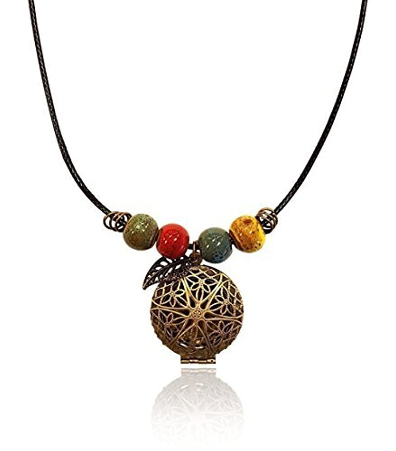 靄破産何でもBrass-tone BOHO Colorful Bohemian Beaded Gypsy Essential Oil Diffuser Jewelry Aromatherapy Locket Pendant includes...