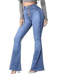 女性高ライズジーンズストレッチワイド脚ブーツカットパンツ