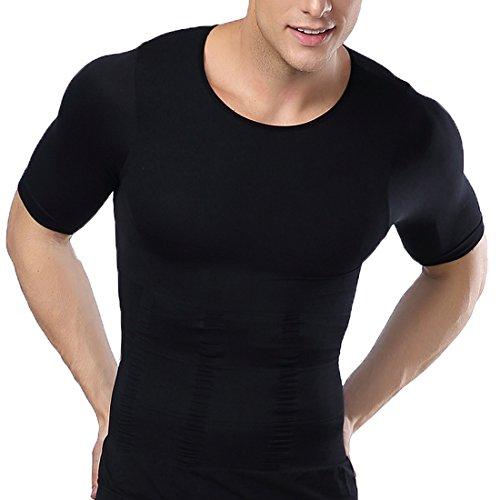 Konnfeir コンプレッションウェア Tシャツ 加圧インナー 半袖 インナー メンズ 加圧シャツ スポーツウェア ダイエット 補正下着 (L, ブラック)