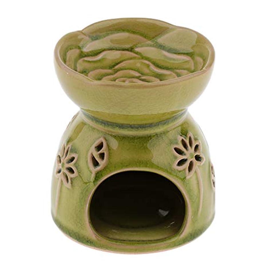 D DOLITY アロマディフューザー エッセンシャルオイルディフューザー セラミック 装飾 贈り物 全2色 - 緑