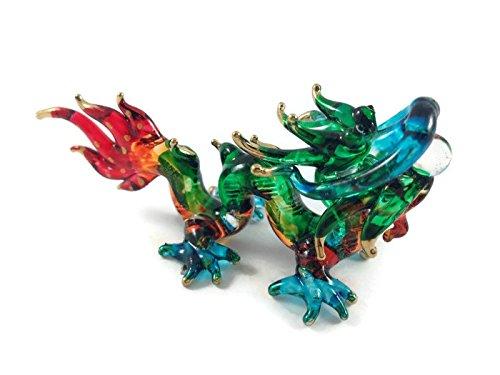 ガラスの動物 ドラゴン 手作り手吹きガラスの ガラス細工 ガラスの置物 ガラス ミニチュア 動物の置...