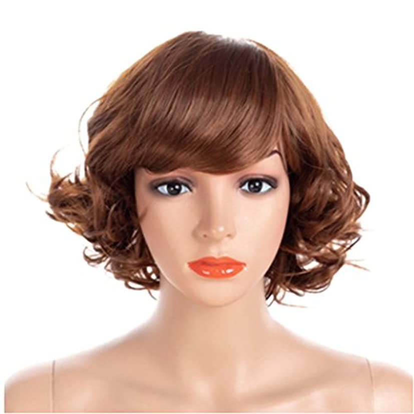 予算ちょうつがい人工YOUQIU ショートウィッグと調節可能なサイズと前髪の小ロールで40センチメートル女性のかつらは、スラントかつらウィッグことができます (色 : Metallic)