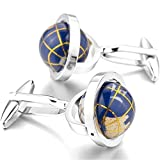 MFYS Jewelry ブルー 地球儀 (ゴールド)カフス【専用収納ケース付き】
