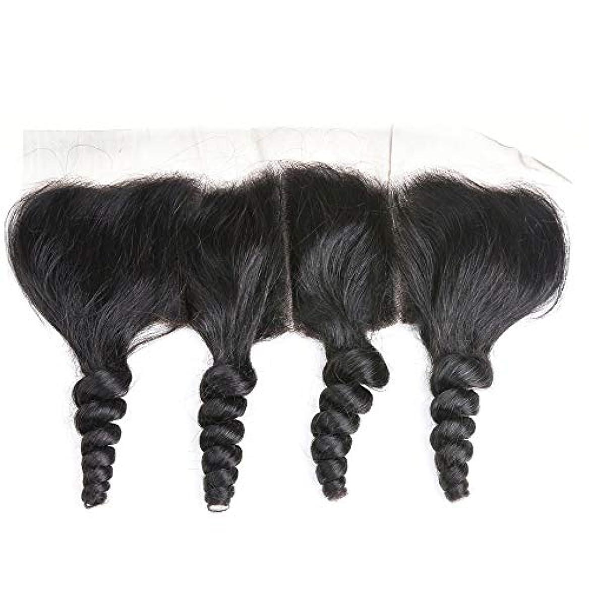 モーター心臓害虫WASAIO レース閉鎖緩い波ブラジルバージン人間の髪の毛の自然な色 (サイズ : 16 inch)