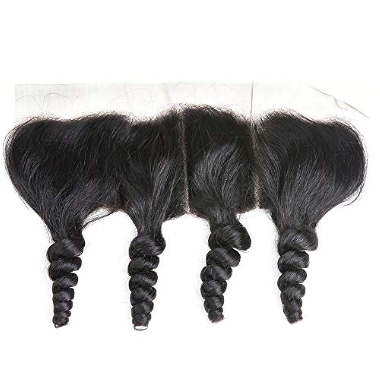 発生するテロリスト修道院WASAIO レース閉鎖緩い波ブラジルバージン人間の髪の毛の自然な色 (サイズ : 16 inch)