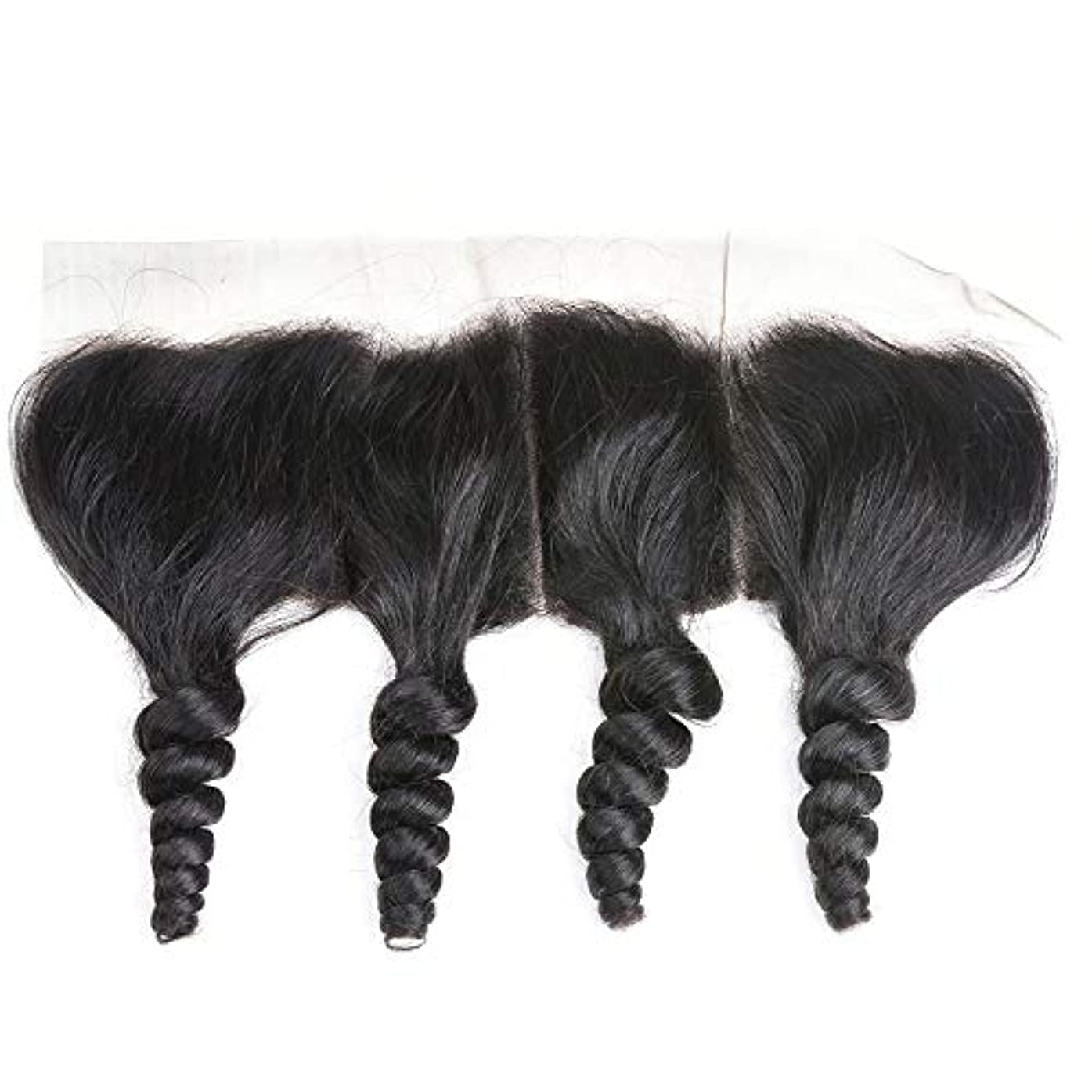 縞模様のを除くかけるWASAIO レース閉鎖緩い波ブラジルバージン人間の髪の毛の自然な色 (サイズ : 16 inch)