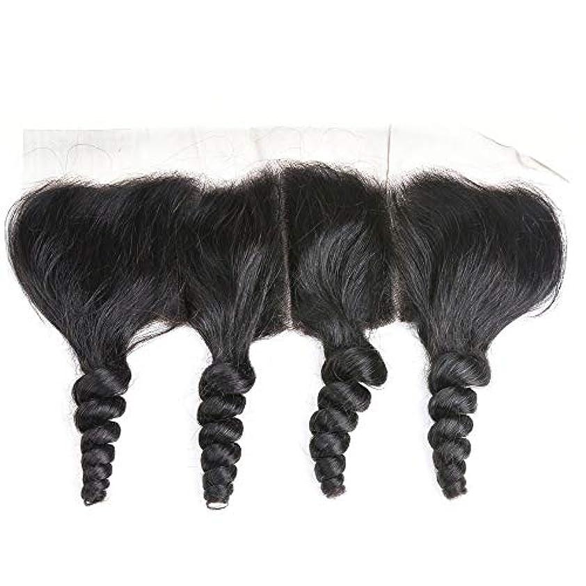 矩形火山の明日WASAIO レース閉鎖緩い波ブラジルバージン人間の髪の毛の自然な色 (サイズ : 16 inch)