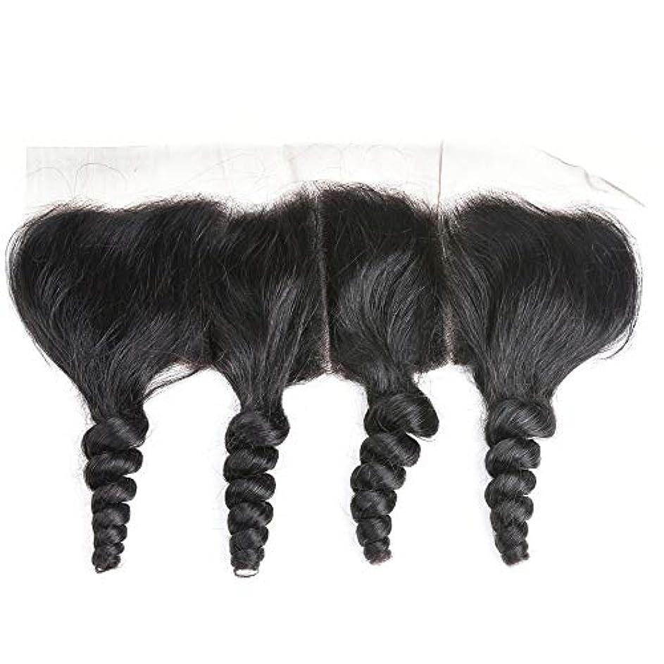 アクション結び目シアーWASAIO レース閉鎖緩い波ブラジルバージン人間の髪の毛の自然な色 (サイズ : 16 inch)