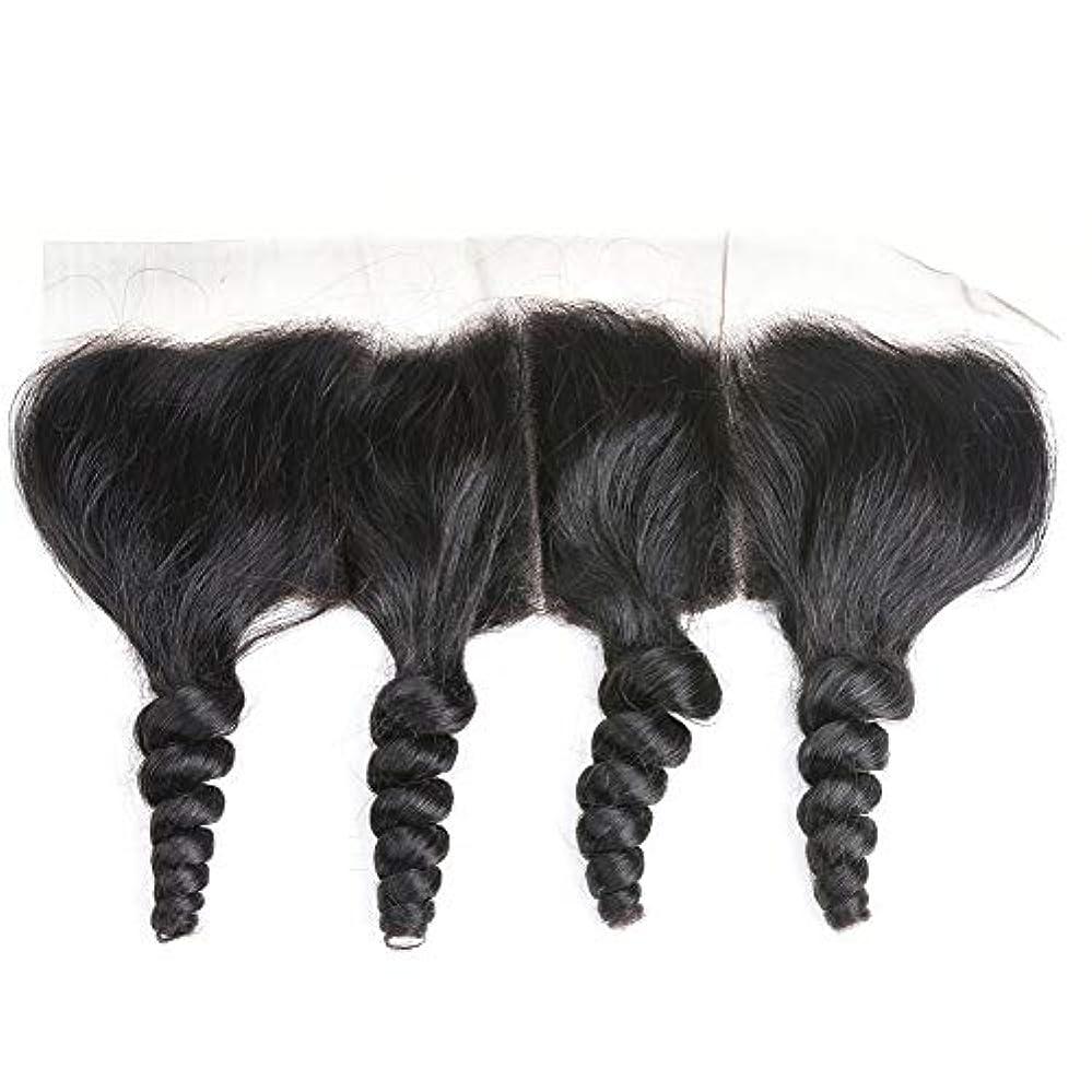 不十分広範囲芽WASAIO レース閉鎖緩い波ブラジルバージン人間の髪の毛の自然な色 (サイズ : 16 inch)