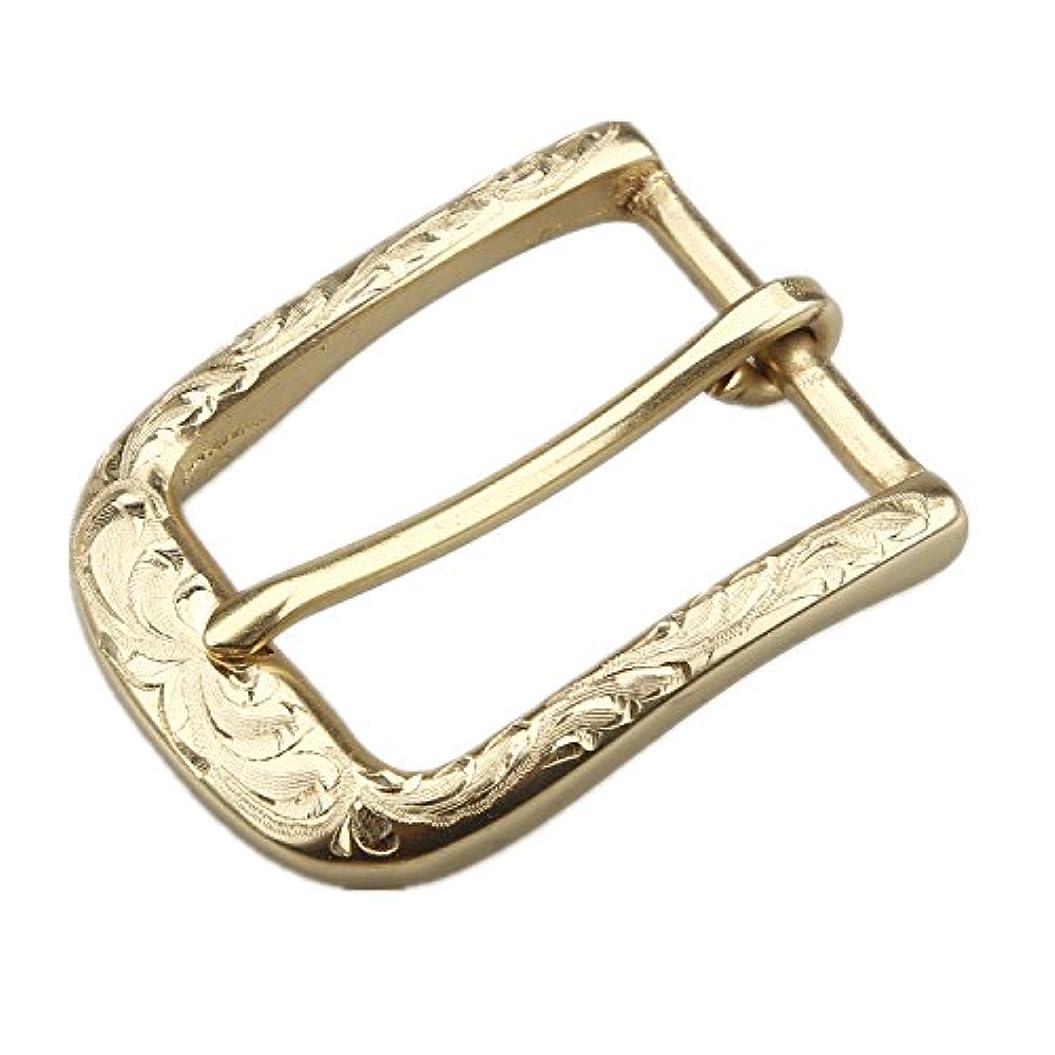 シリング親愛な勃起kokoungkuan ベルトバックル ハンドメイド彫刻 真鍮ブラス 巾35㎜ ゴールド … (バックル)