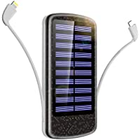モバイルバッテリー ソーラーチャージャー 急速充電 15000mAh 大容量 高輝度LED懐中電灯 ケーブル内蔵 取り外し可能 ソーラーパネル搭載 太陽光で充電できる iPhone/iPad/Androidに対応 停電や災害時に大活躍(black+gray)