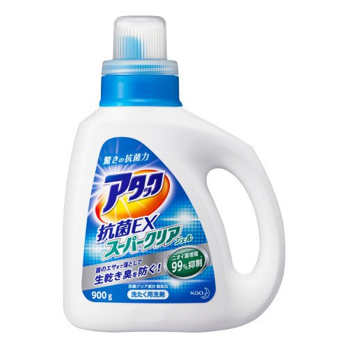 アタック 洗濯洗剤 液体 抗菌スーパークリアジェル 本体 900g