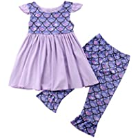 YOUNGER TREE 2 Pcs Toddler Kids Baby Girls Mermaid Spilcing Tops Dress+ Fish Scale Print Pants Outfits Set Summer
