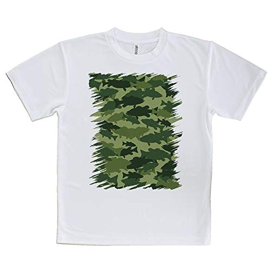 ハウスラベささやきAnglersLife Tシャツ ブラックバス 迷彩大柄 フォレストグリーン United Athle(ユナイテッドアスレ) ホワイト 白 ポリエステル100% 4.1oz UTF30
