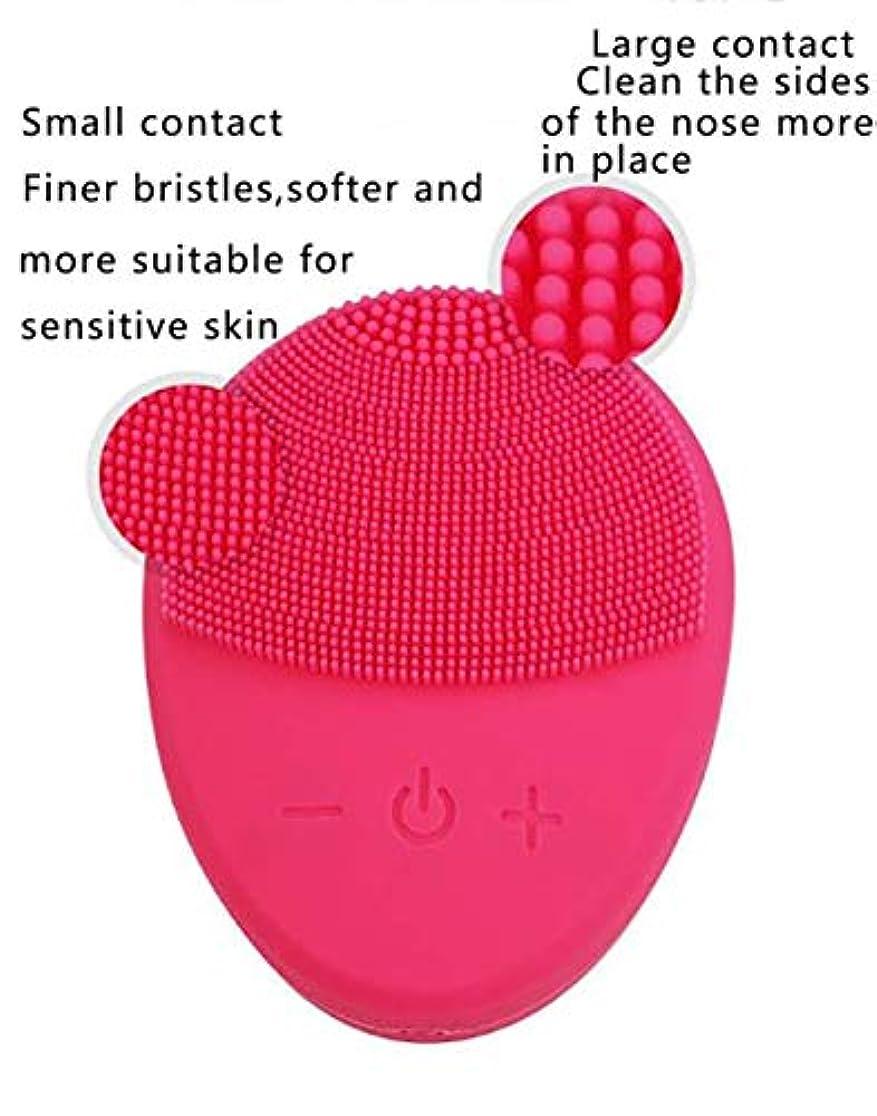 モスクびっくりサーマル洗顔ブラシ-ポータブルUSB充電防水超音波リムーバー洗浄フェイシャルポアクリーナー洗浄器具 (Color : Rose Red)