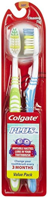 敷居作業明るくするColgate プラス歯ブラシ、完全な頭部、ソフト - 2のCt - 2 Pkを