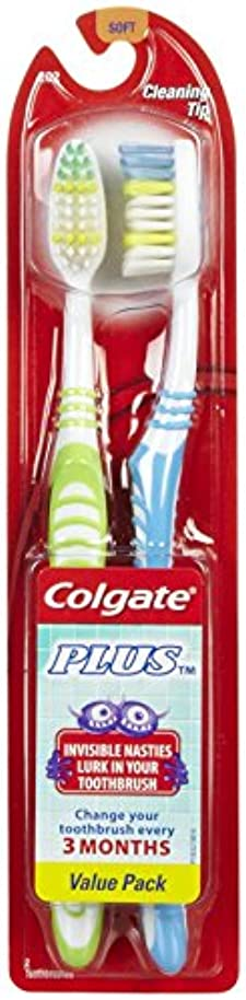 Colgate プラス歯ブラシ、完全な頭部、ソフト - 2のCt - 2 Pkを
