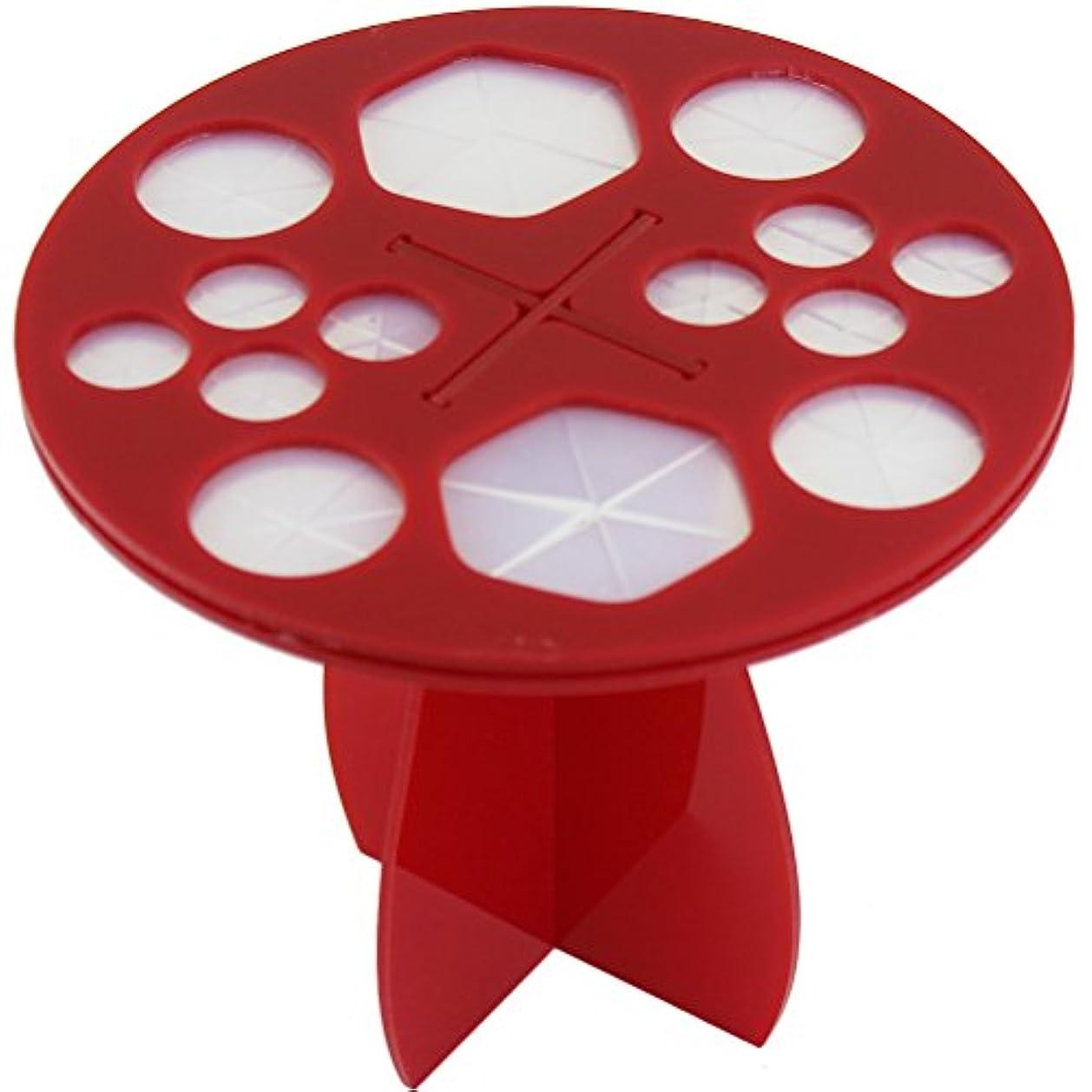 むしろ小道ウェーハ(メイクアップエーシーシー) MakeupAcc メイクブラシ干しラック ブラシ収納 アクリル乾かすブラシフレーム メイクアップブラシホルダー  ラウンド型 3色 (赤) [並行輸入品]
