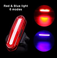 KTH USBの再充電可能な防水後部バイクライト、クイックリリースのマウンテンバイクのテールライトの極度の明るいLEDの自転車ライト (Color : Red+blue)