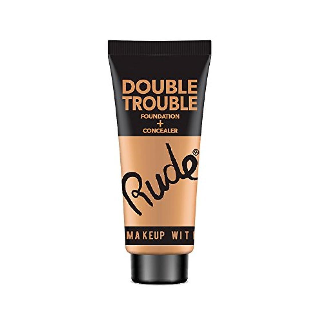 暗唱するまもなく困難(6 Pack) RUDE Double Trouble Foundation + Concealer - Cocoa (並行輸入品)