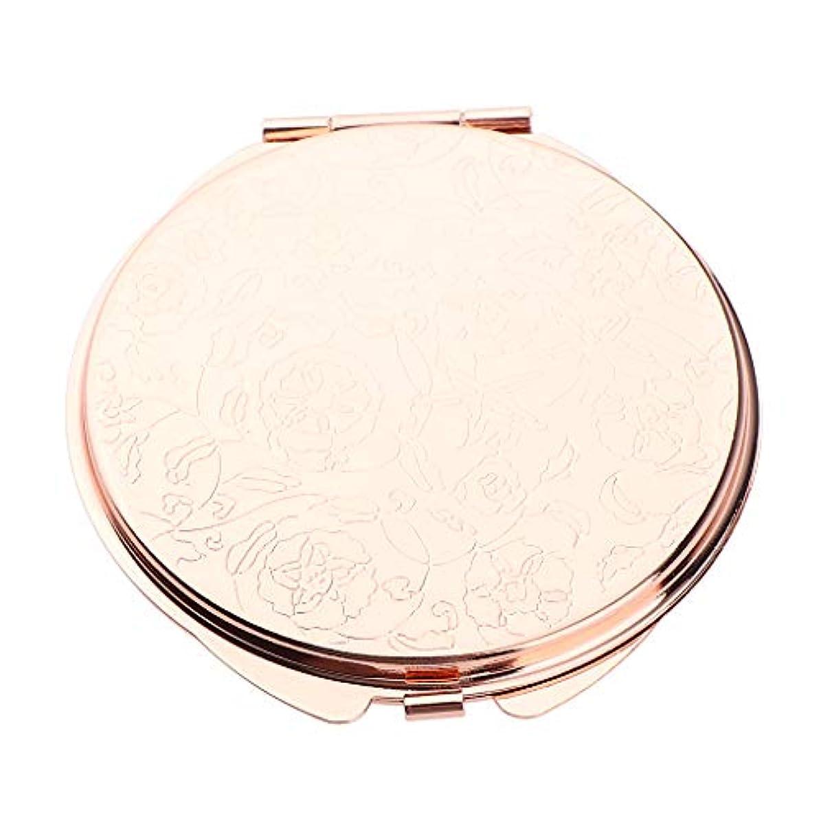 アルバムバースト苦化粧鏡 折りたたみ メイクミラー コスメミラー 円形 メイクアップミラー ポータブル 2色選べ - ローズゴールデン