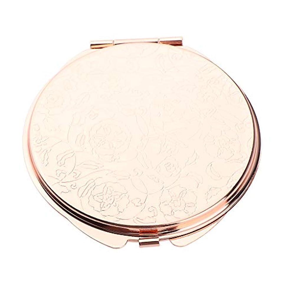 一緒に評価可能二週間化粧鏡 折りたたみ メイクミラー コスメミラー 円形 メイクアップミラー ポータブル 2色選べ - ローズゴールデン