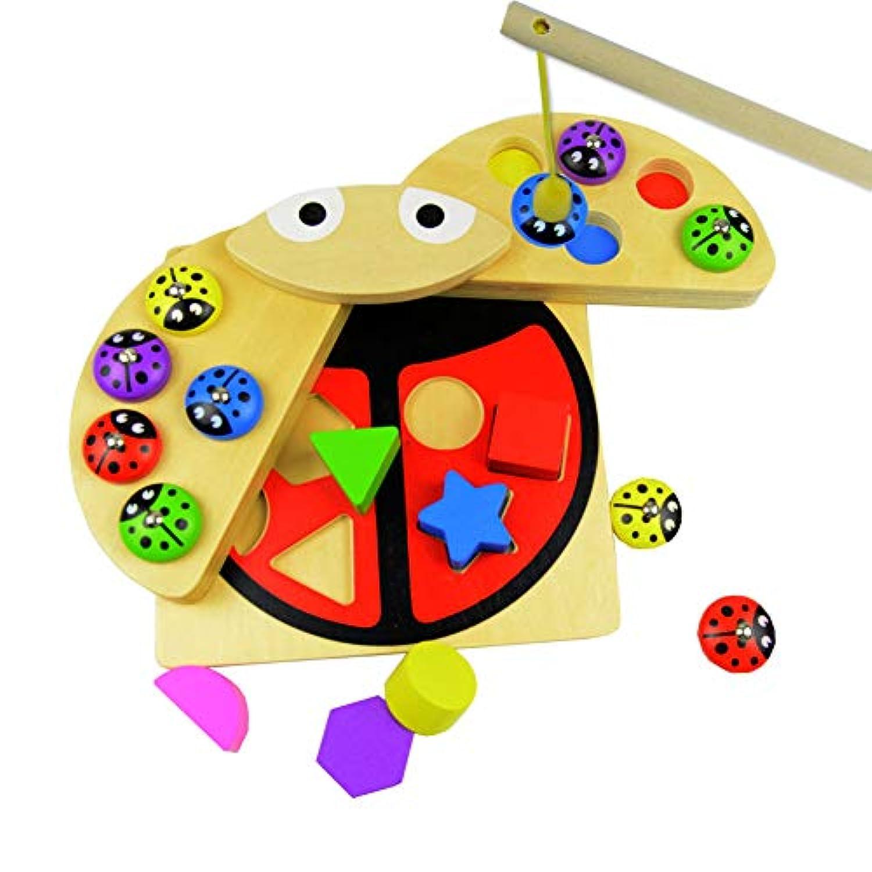 磁気釣り用おもちゃゲームセット 幼稚園木製パズル玩具 10個の木製てんとう虫と6つの形のブロック付き