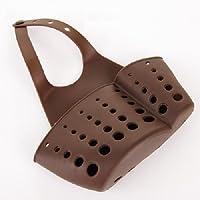 2pcs Hanging PVCプラスチックドレインバッグバスケット調節可能なお風呂キッチンストレージシンクホルダー ブラウン 55276-US1
