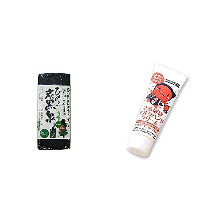 外観小麦粉商標[2点セット] ひのき炭黒泉(75g×2)?さるぼぼ ミルクハンドクリーム(50g)