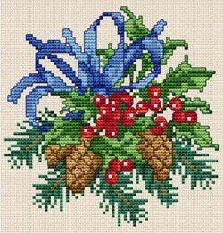 クロスステッチ(刺繍)用図案「EMS012 Christmas03」ヒイラギと松ぼっくりのクリスマスリース
