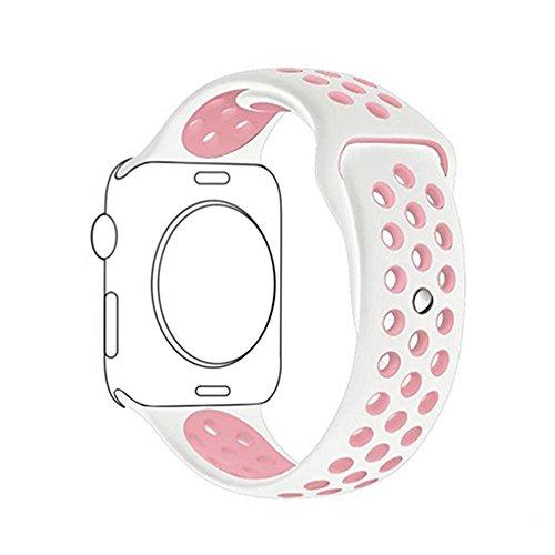 METEQI For Apple Watch Band シリカゲルバンド スポーツシリコンストラップリストバンド交換バンド柔らか運動型 M/L Series 3/2/1 (38MM, 白/ピンク)