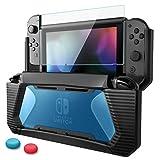Nintendo Switch カバー 【HEYSTOP】ニンテンドースイッチ ケース+ Switchガラスフィルム+親指キャップ TPU+PC製 全面保護 衝撃吸収 傷防止 取り外し簡単 指紋防止 気泡ゼロ 高透過率 高感度 透明ブルー