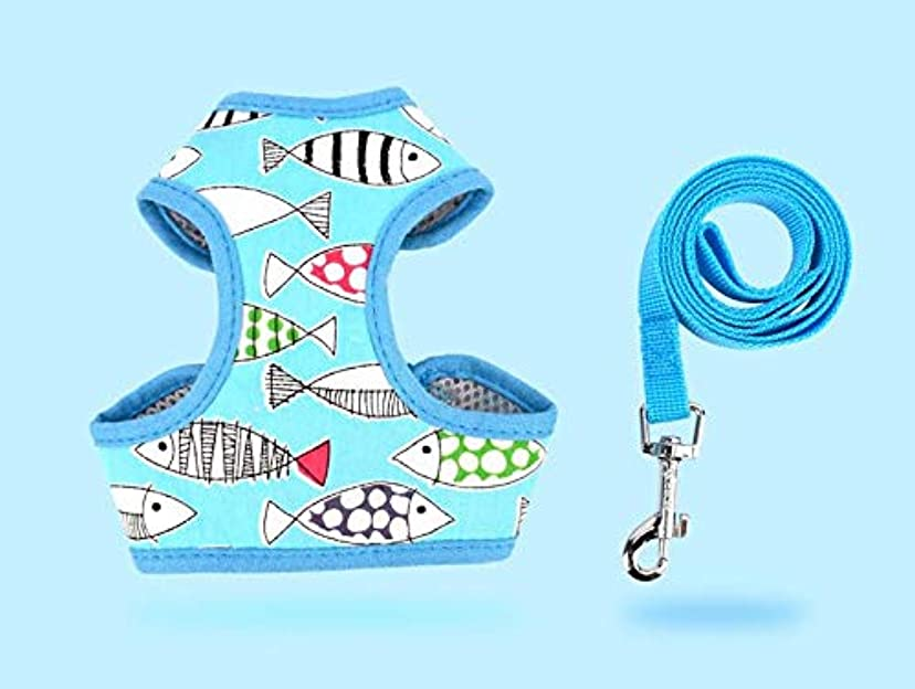 かなり盲目装置ペット用胸当て&ハーネス&リードセット ペットハーネス 犬猫兼用 お散歩アイテム お出かけ用品 (青い魚)